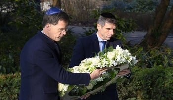 Prime Minister Mark Rutte lays a wreath at the Auschwitz Never Again monument in Amsterdam, January 26, 2020.