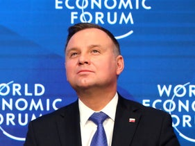Poland's President Andrzej Duda attends a session at the 50th World Economic Forum in Davos, Switzerland, January 23, 2020.