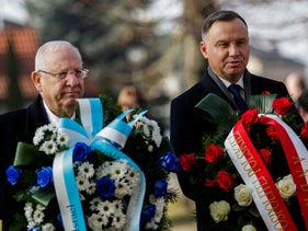 Poland's President Andrzej Duda and President Reuven Rivlin attend a wreath-laying ceremony, marking the 75th anniversary of the liberation of Auschwitz in Oswiecim, Poland on January 27, 2020.