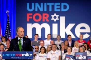 Democratic presidential candidate Michael Bloomberg hosting a 'United for Mike' at the Aventura Turnery Jewish Center and Tauber Academy Social in Miami, Florida, January 26, 2020.