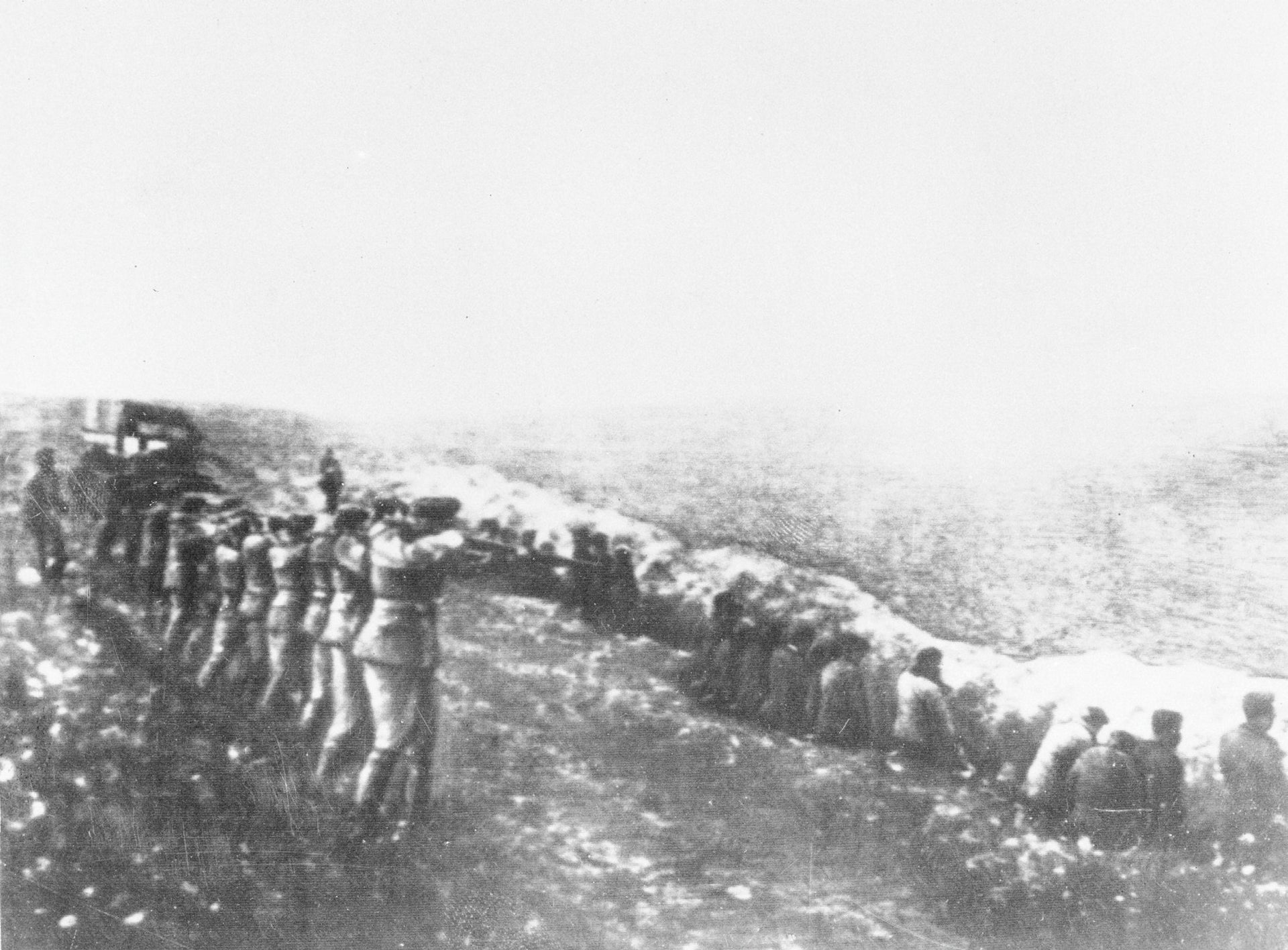 A photo found in 1942 along with the body of a Nazi officer killed in Russia, showing mass murder at Babi Yar.
