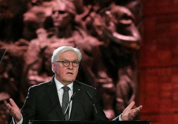 German President Frank-Walter Steinmeier delivers a speech during the Fifth World Holocaust Forum at the Yad Vashem Holocaust memorial museum in Jerusalem on January 23, 2020