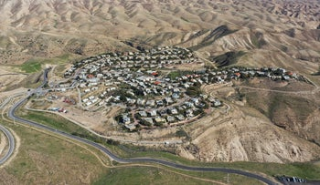 A general view of the West Bank Jewish settlement of Maale Michmash, Sunday, January 26, 2020