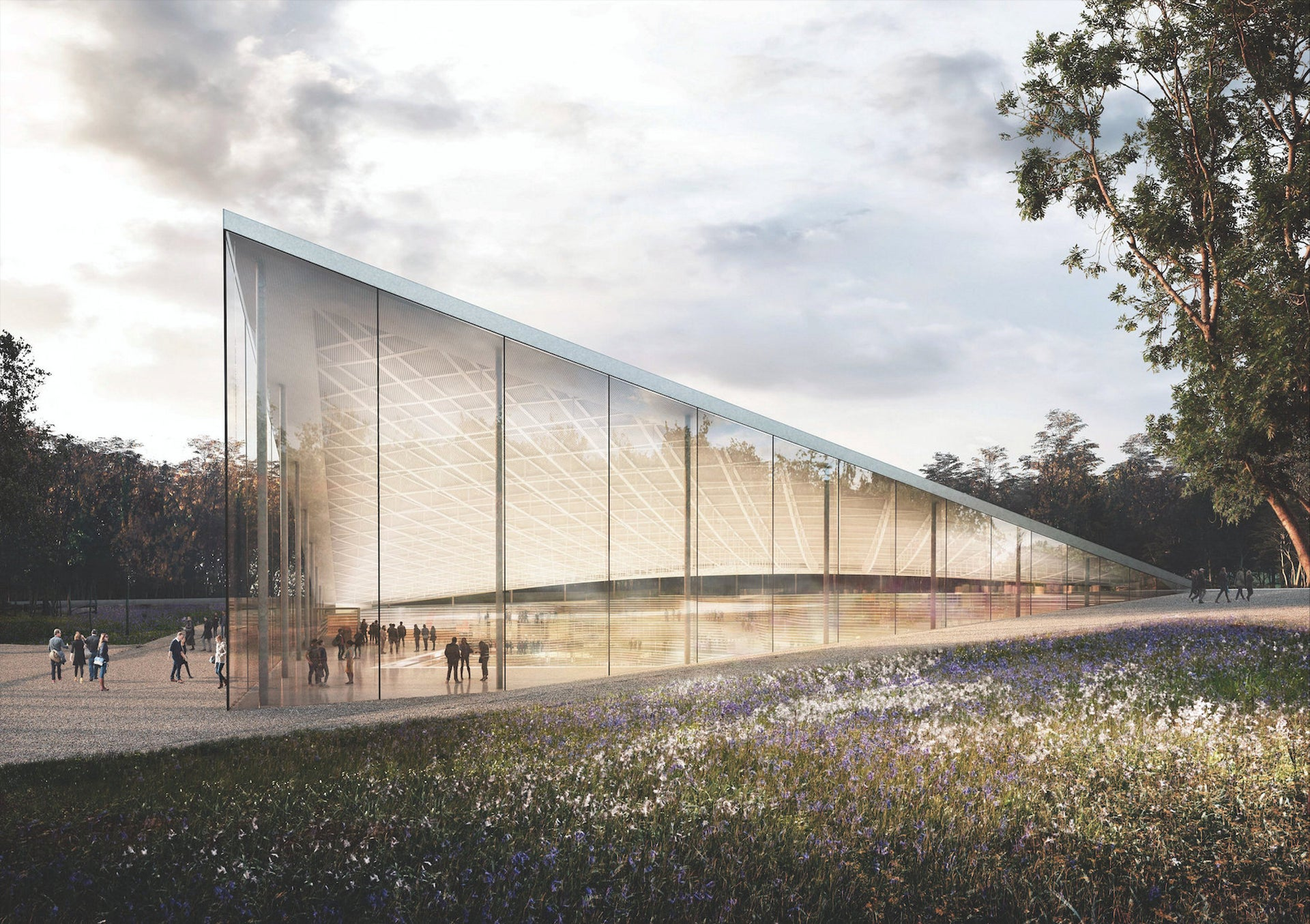 A simulation of the proposed Babyn Yar Holocaust Memorial Center. The erection of a memorial at Babi Yar was debated in Ukraine for years.