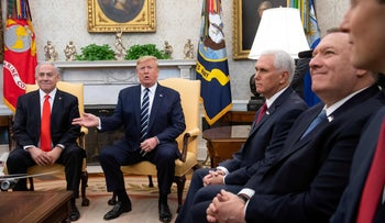 U.S. President Donald Trump meets with Prime Minister Benjamin Netanyahu alongside Vice President Mike Pence (C), Secretary of State Mike Pompeo (2nd R) in Washington, January 27, 2020.