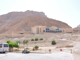 A youth hostel, providing budget options for tourists, at the foot of Masada, Israel, September 5, 2012
