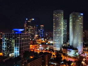 Tel Aviv skyline at night