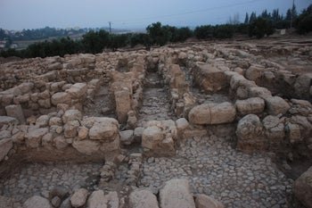 Archaeologists believe this pillared building found at Horvat Tevet served as an Israelite royal estate in the 9th century B.C.E.