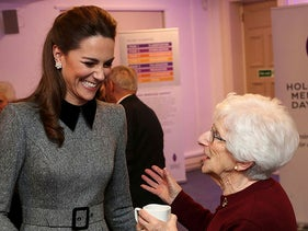 Britain's Catherine, with Holocaust survivor Yvonne Bernstein after the UK Holocaust Memorial Day Commemorative Ceremony in London, Britain January 27, 2020.