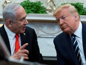 Trump talks with Netanyahu at the White House, January 27, 2020.