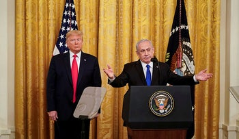 Donald Trump and Benjamin Netanyahu deliver joint remarks on a Middle East peace plan proposal at White House in Washington, January 28, 2020.
