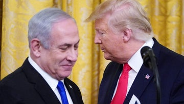 Benjamin Netanyahu and Donald Trump at the White House on January 28, 2020.