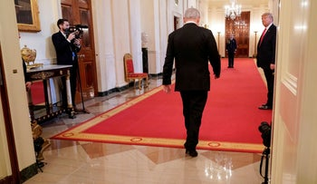 Netanyahu departs after delivering joint remarks with U.S. President Donald Trump on a Middle East peace plan proposal at the White House in Washington, U.S., January 28, 2020.