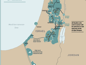 The map of Israel and Palestine as proposed in Donald Trump's peace plan.