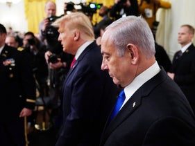Prime Minister Benjamin Netanyahu and President Donald Trump at the White House, Washington, January 28, 2020.