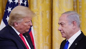 U.S. President Donald Trump and Prime Minister Benjamin Netanyahu take part in an announcement of Trump's Middle East peace plan at the White House in Washington, January 28, 2020.