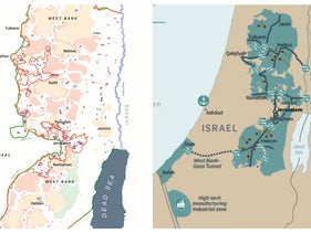 A side-by-side comparison of the map presented as part of the Oslo Accords (L) and the map presented by President Donald Trump for his Mideast peace plan