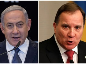 Israel's Prime Minister Benjamin Netanyahu, left, and the Swedish Prime Minister Stefan Löfven.  It had been 21 years since a Swedish Prime Minister had visited Israel.