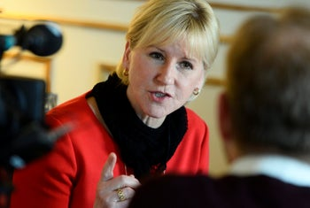 Sweden's former Foreign Minister Margot Wallstrom. Linked the Israeli-Palestinian conflict to the terror attacks in Paris.