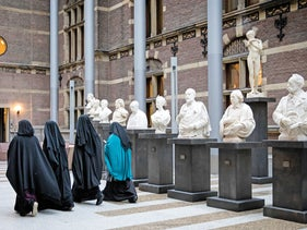 Women wearing a niqab at the Senate in The Hague.