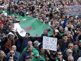 People take to the streets in the capital Algiers to protest against the government, in Algeria, January 24, 2020.
