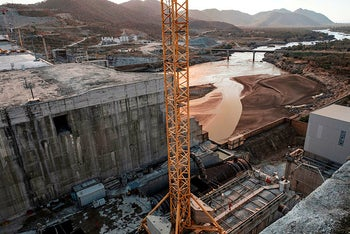 A general view of the Blue Nile river as it passes through the Grand Ethiopian Renaissance Dam (GERD),  near Guba in Ethiopia, on December 26, 2019.