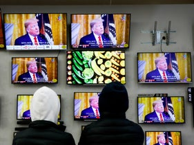 President Trump's speech, viewed in a Jerusalem mall.