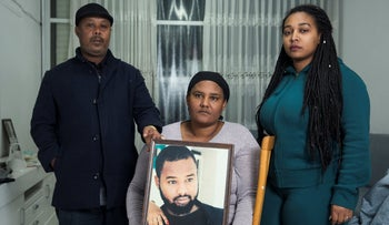 The family of Ethiopian Israeli Solomon Teka in Kiryat Haim, a suburb of Haifa, January 2020.