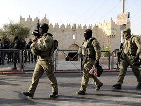 Israeli security personnel patrol the area outside Damascus gate following a security incident by the gate in Jerusalem's old city, May 31, 2019.