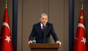 Turkey's President Recep Tayyip Erdogan speaks before departing to attend a NATO leader's summit in London, in Ankara, Turkey, December 3, 2019.