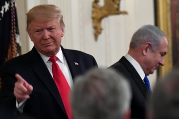 Donald Trump and Benjamin Netanyahu at the White House for the announcement of the U.S. president's Mideast peace plan, January 28, 2020.
