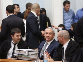 Benjamin Netanyahu at the High Court defending his government's policy for the natural gas industry, 2016.
