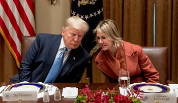 Donald Trump speaks to Kelly Craft at the White House, December 5, 2019.