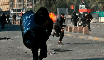 Anti-government protesters during clashes in Baghdad, Iraq, Jan. 31, 2020.