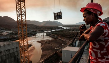Workey Tadele, a radio operator, at the Grand Ethiopian Renaissance Dam (GERD), near Guba in Ethiopia, on December 26, 2019