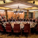 Arab League FMs at an emergency meeting discussing the US-brokered proposal for a settlement of the Middle East conflict, Cairo, February 1, 2020