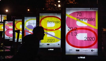 Boards advertise the upcoming Berlinale international film festival in Berlin on February 1, 2020.