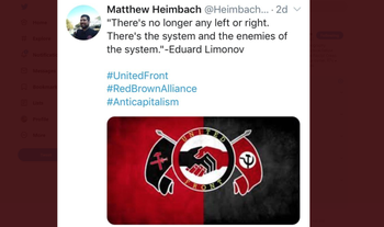 Matthew Heimbach, who established the far-right neo-Nazi Traditionalist Worker Party, expresses his agreement with the 'Third Positionist' ideology of Russia's National Bolshevik ideologue, Eduard Limonov