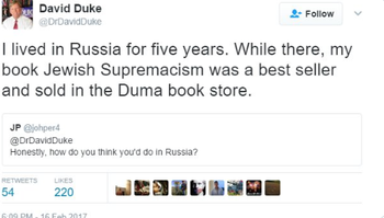 Aד Russia became a safe space for assorted neo-Nazis and far right figures, ex-KKK head David Duke moved to Russia for years, and found his book sold in the Duma's lobby