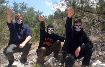 Sam Woodward, on trial for the murder of Jewish University of Pennsylvania student Blaze Bernstein, with members of Atomwaffen, violent neo-Nazi organization in Texas in summer 2017