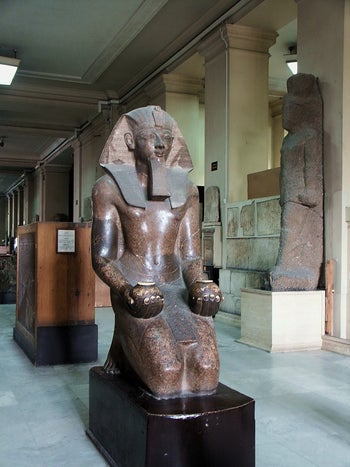 Kneeling Pharaoh Hatshepsut at the Cairo Museum: She was often depicted with a beard, to distract from the fact that she was female.