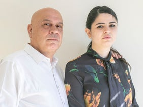 Esawi Freige and his daughter Amna at their office in Kafr Qasem, January 30, 2020.