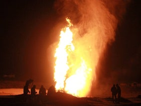 File photo: A gas pipeline blown up in the northern Sinai Peninsula, 2011.