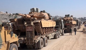 Turkey Armed Forces convoy is seen at the northern town of Sarmada, in Idlib, Syria, February 2, 2020.