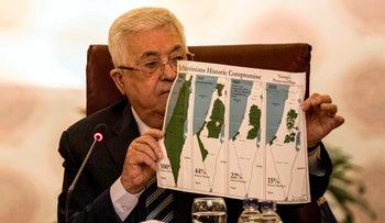 Palestinian president Mahmoud Abbas shows maps of historical Palestine over time at the emergency Arab League summit called to discuss the Trump peace plan. Cairo, Feb 1, 2020
