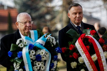 Poland's President Andrzej Duda and his Israeli counterpart Reuven Rivlin at the International Holocaust Victims Remembrance Day, in Auschwitz, Poland, January 27, 2020