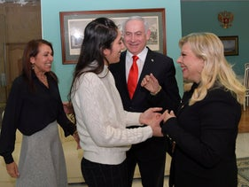Prime Minister Benjamin Netanyahu and his wife Sara meeting Naama Issachar and her mother Yaffa in Moscow, January 30, 2020.
