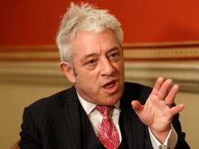 Former British House of Commons speaker, John Bercow, speaks during an interview with Associated Press in London, November 7, 2019.