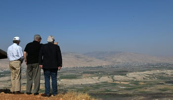 Netanyahu with John Bolton and U.S. Ambassador to Israel David Friedman during a tour of the Jordan Valley, 2019