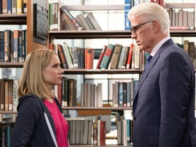 """Kristen Bell and Ted Danson in a scene from """"The Good Place."""""""